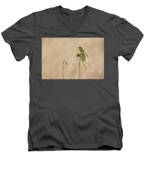 Men's V-Neck T-Shirt featuring the tapestry - textile Little Bee-eater by Kathy Adams Clark