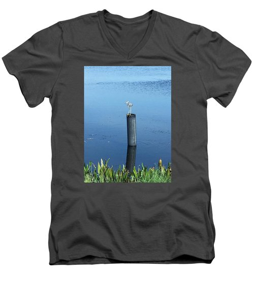 Men's V-Neck T-Shirt featuring the photograph Little Blue Heron by Kay Gilley