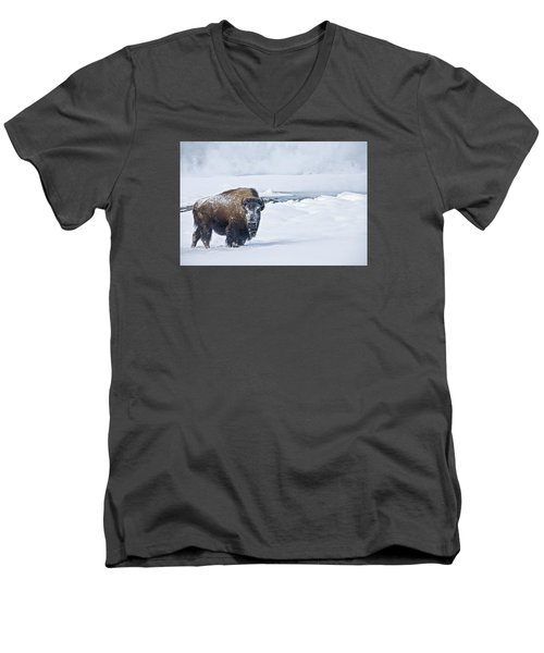 Lone Bison Men's V-Neck T-Shirt