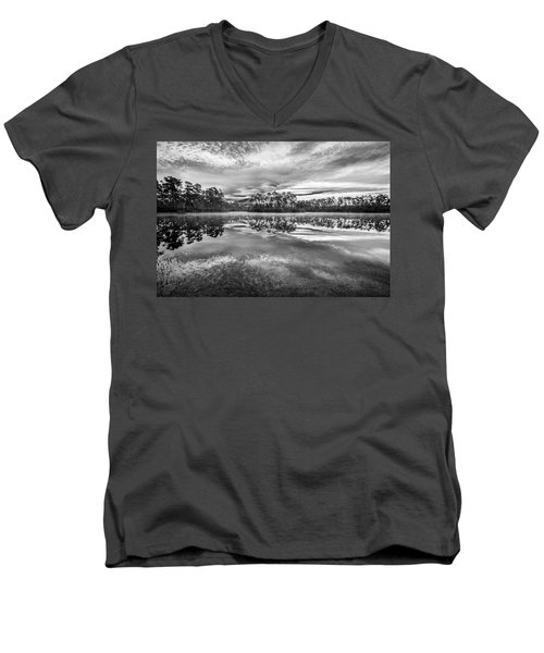 Long Pine Bw Men's V-Neck T-Shirt by Jon Glaser