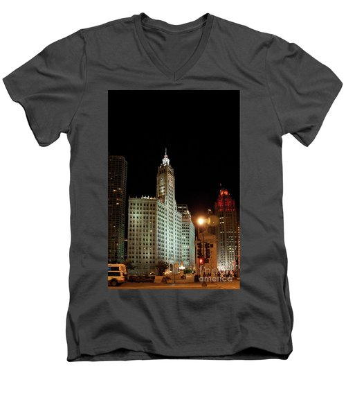 Looking North On Michigan Avenue At Wrigley Building Men's V-Neck T-Shirt