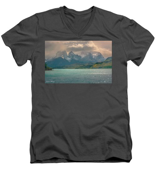 Men's V-Neck T-Shirt featuring the photograph Los Cuernos  by Andrew Matwijec