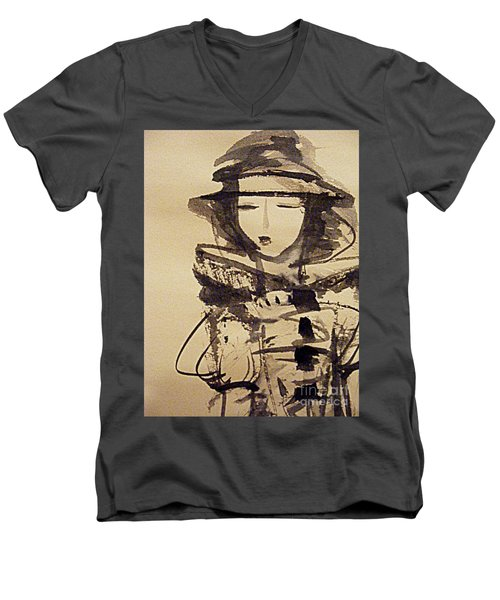 Lost In Thought Men's V-Neck T-Shirt by Nancy Kane Chapman