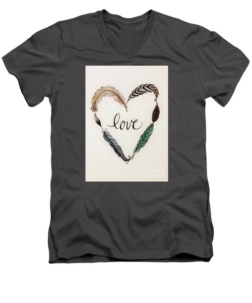 Men's V-Neck T-Shirt featuring the painting Feathers Of Love by Elizabeth Robinette Tyndall