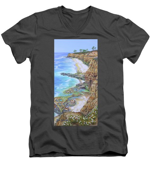 Low Tide Sunset Cliffs Men's V-Neck T-Shirt by Jane Girardot