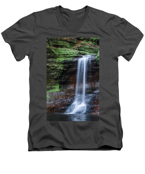 Lower Dells Falls Matthiessen State Park Oglesby Illinois Men's V-Neck T-Shirt