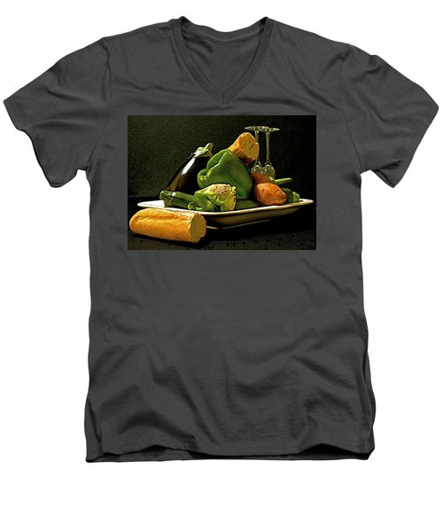 Men's V-Neck T-Shirt featuring the photograph Lunch Time by Elf Evans