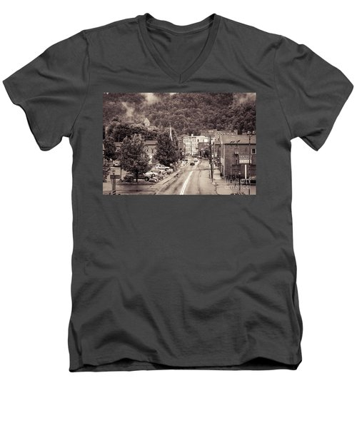 Men's V-Neck T-Shirt featuring the photograph Main Street Webster Springs by Thomas R Fletcher