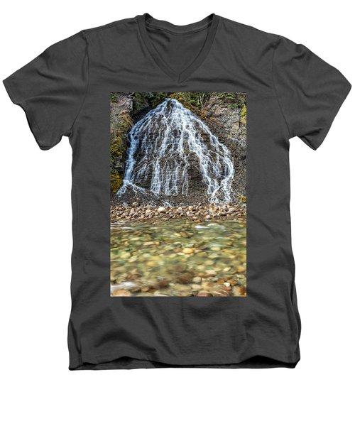 Cascades Of Maligne Canyon Men's V-Neck T-Shirt