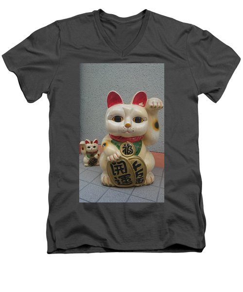 A Figure Of A Beckoning Cat, Called 'manekineko' Men's V-Neck T-Shirt
