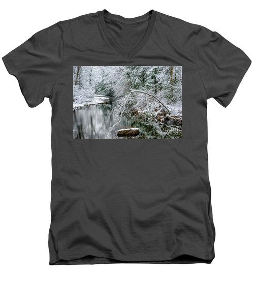 Men's V-Neck T-Shirt featuring the photograph March Snow Cranberry River by Thomas R Fletcher