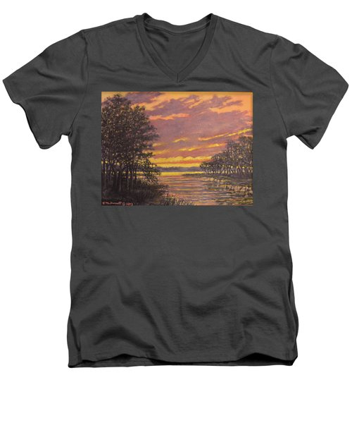 Men's V-Neck T-Shirt featuring the painting Marsh Sketch # 7 by Kathleen McDermott
