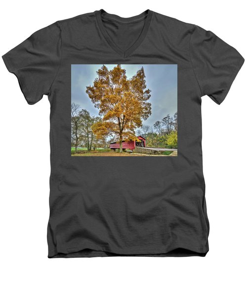 Maryland Covered Bridge In Autumn Men's V-Neck T-Shirt