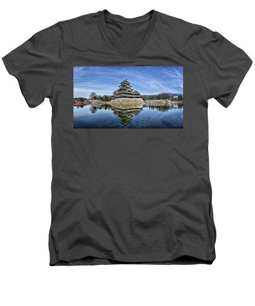 Matsumoto Castle Panorama Men's V-Neck T-Shirt