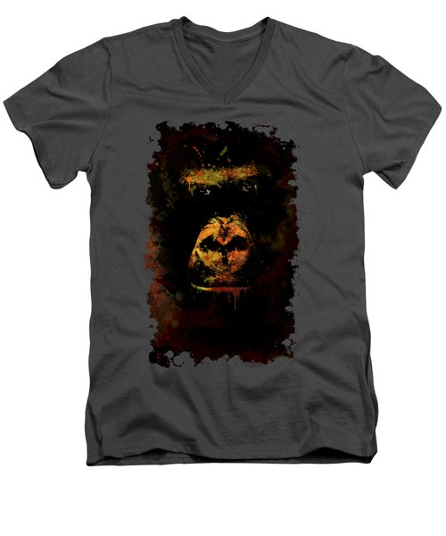 Mighty Gorilla Men's V-Neck T-Shirt by Jaroslaw Blaminsky