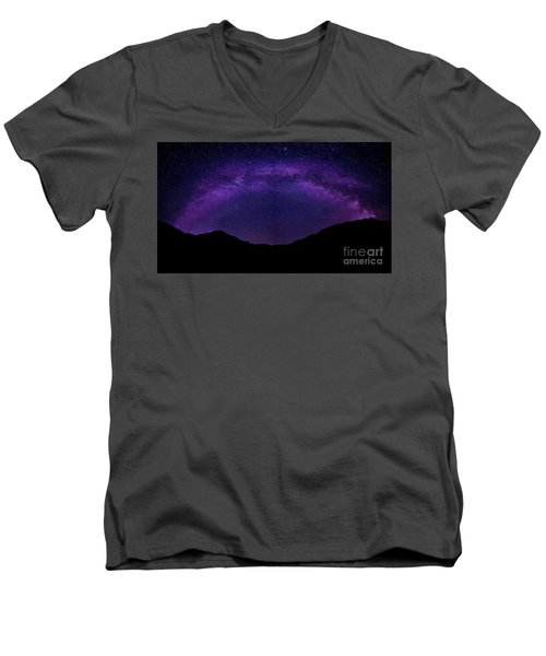 Men's V-Neck T-Shirt featuring the photograph milky way above the Alps by Hannes Cmarits