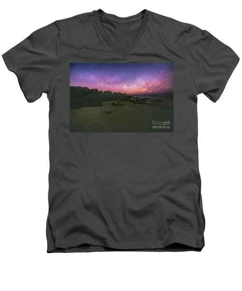 Milky Way Beach Men's V-Neck T-Shirt by Robert Loe