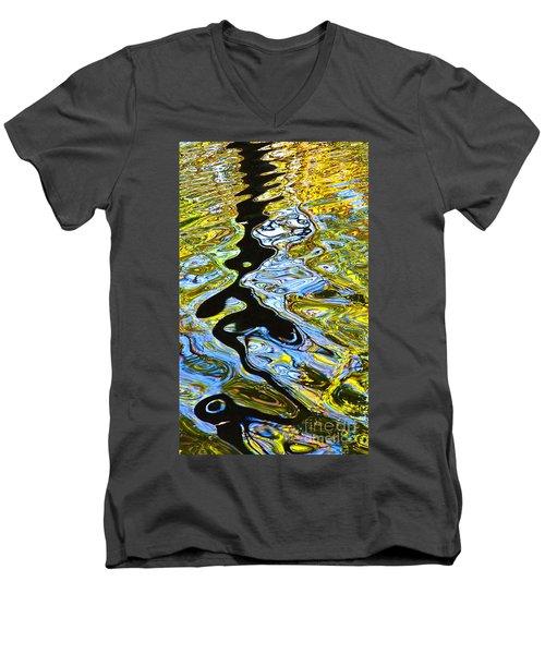 Mill Pond Reflection Men's V-Neck T-Shirt by Tom Cameron