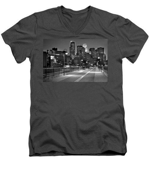 Minneapolis Skyline From Stone Arch Bridge Men's V-Neck T-Shirt by Jon Holiday