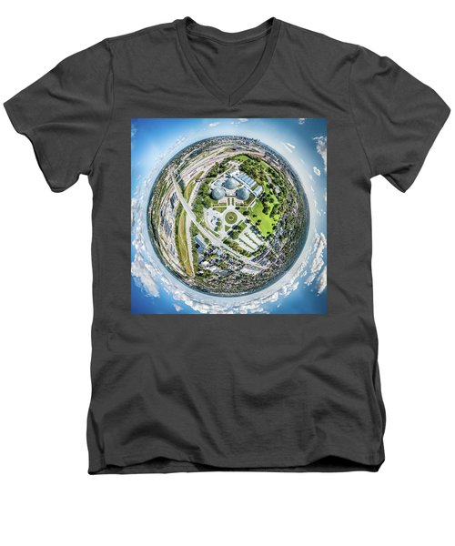 Men's V-Neck T-Shirt featuring the photograph Mitchell Park Domes by Randy Scherkenbach