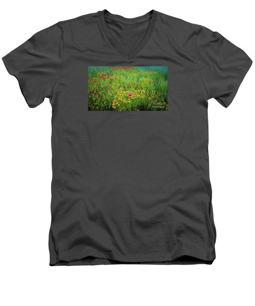 Mixed Wildflowers In Bloom Men's V-Neck T-Shirt