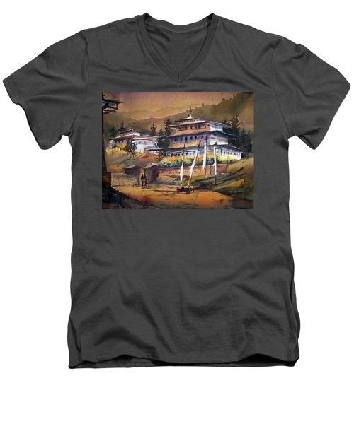 Men's V-Neck T-Shirt featuring the painting Monastery In Himalaya Mountain by Samiran Sarkstery in Himalaya Mountainar