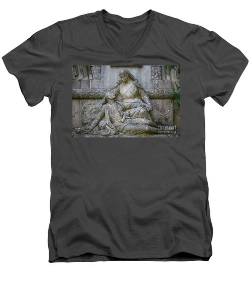 Men's V-Neck T-Shirt featuring the photograph Monument To The Duchess Of Victory Genoves Park Cadiz Spain by Pablo Avanzini
