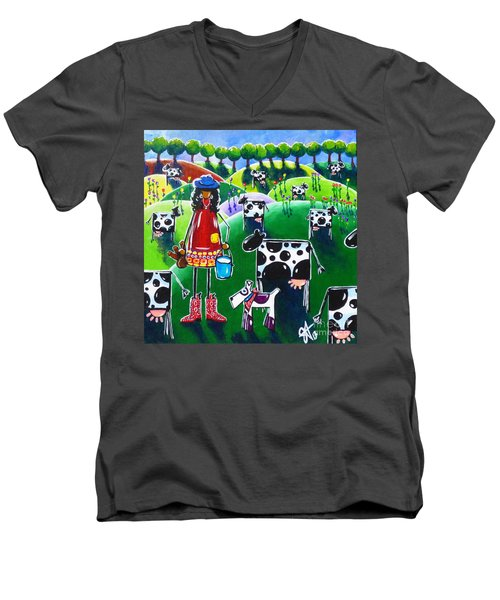 Moo Cow Farm Men's V-Neck T-Shirt by Jackie Carpenter