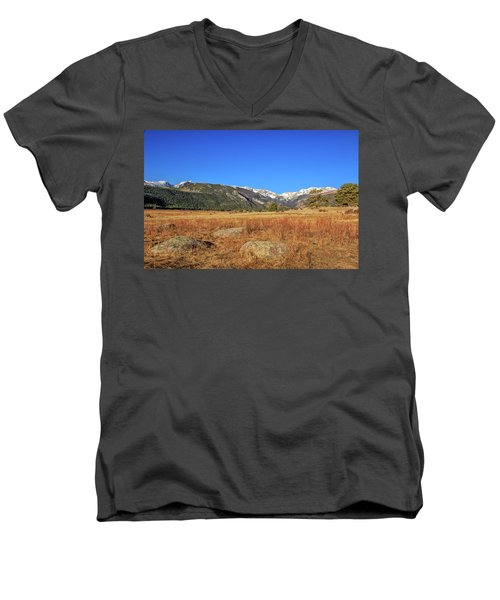 Men's V-Neck T-Shirt featuring the photograph Moraine Park In Rocky Mountain National Park by Peter Ciro
