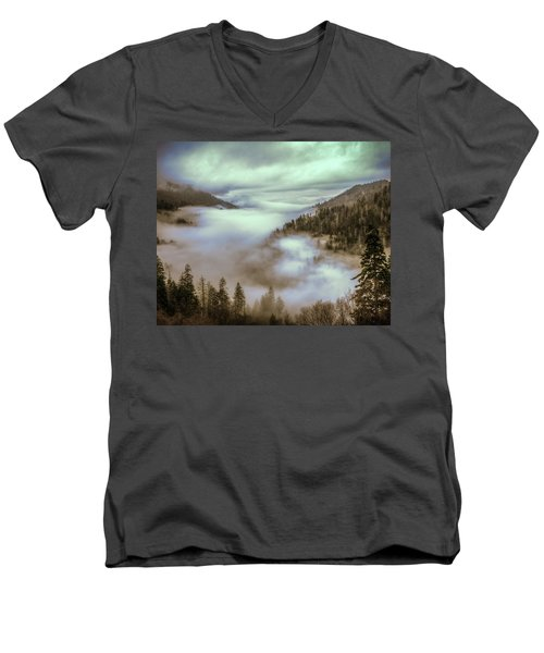 Morning Mountains II Men's V-Neck T-Shirt by Rebecca Hiatt