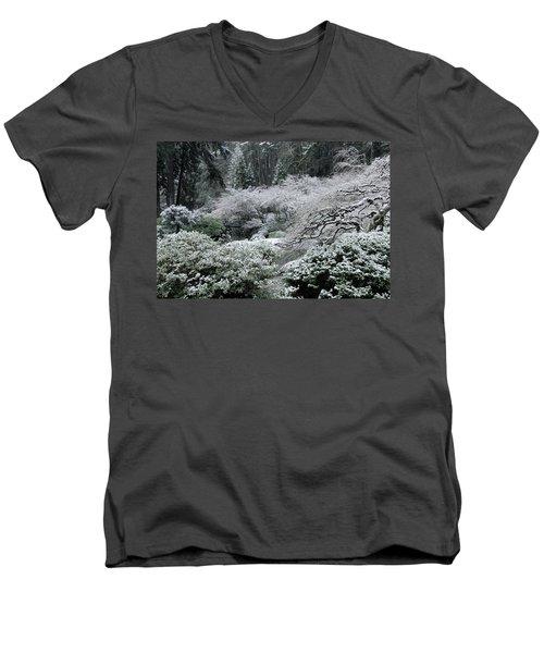 Morning Snow In The Garden Men's V-Neck T-Shirt
