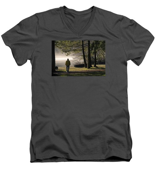 Men's V-Neck T-Shirt featuring the photograph Morning Walk by Inge Riis McDonald