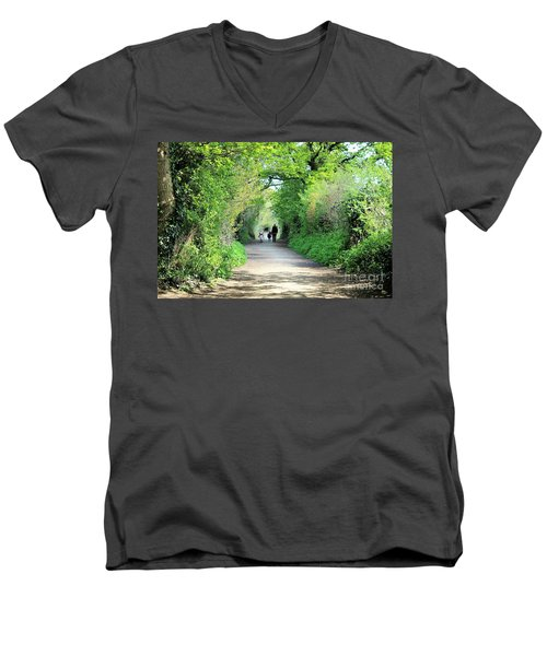 Men's V-Neck T-Shirt featuring the photograph Morning Walk by Katy Mei