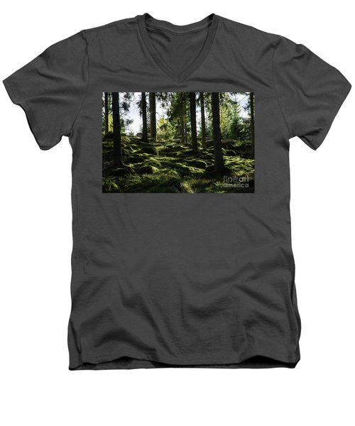 Men's V-Neck T-Shirt featuring the photograph Mossy Rocks by Kennerth and Birgitta Kullman