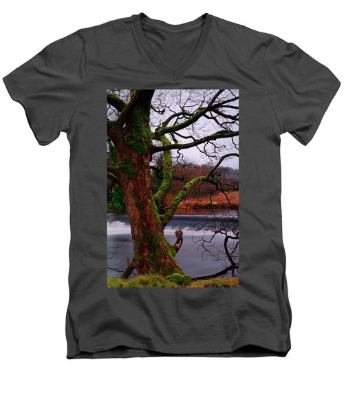 Mossy Tree Leaning Over The Smooth River Wharfe Men's V-Neck T-Shirt