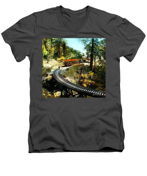 Mount Tamalpais Railway In The 1890s California Men's V-Neck T-Shirt