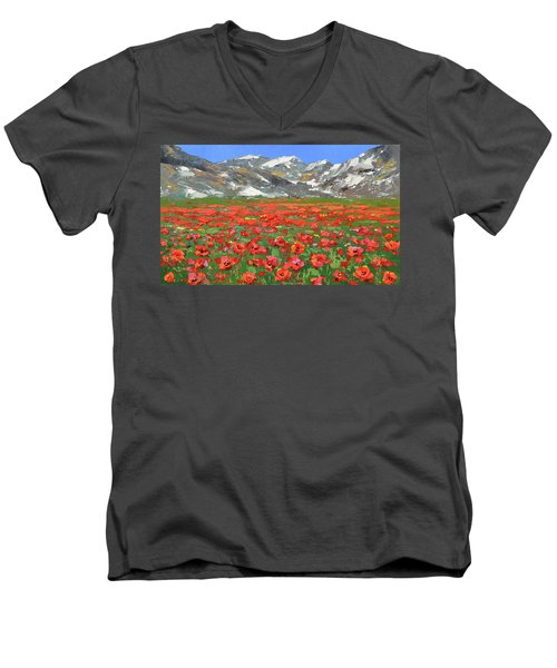 Mountain Poppies  Men's V-Neck T-Shirt by Dmitry Spiros