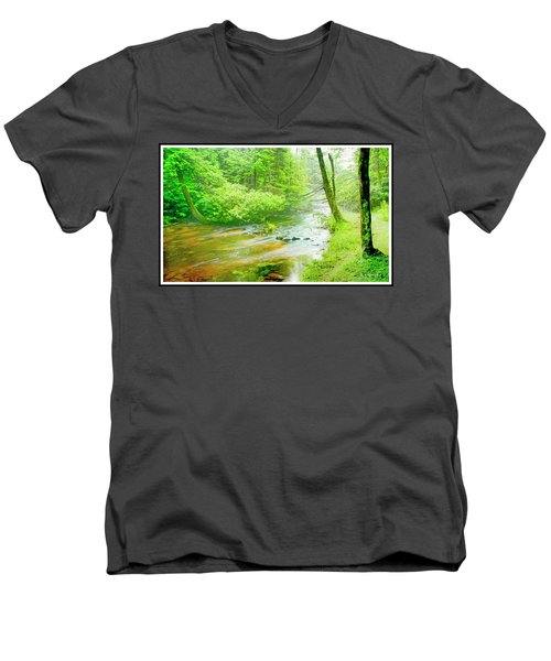 Mountain Stream, Pocono Mountains, Pennsylvania Men's V-Neck T-Shirt by A Gurmankin