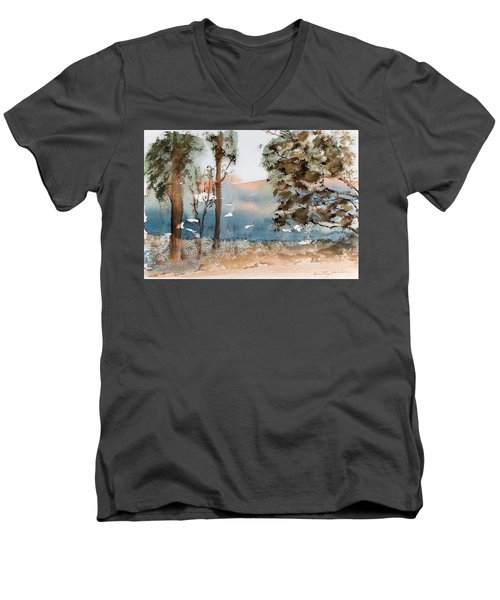 Mt Field Gum Tree Silhouettes Against Salmon Coloured Mountains Men's V-Neck T-Shirt