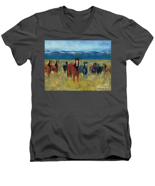 Mustangs In Southern Colorado Men's V-Neck T-Shirt