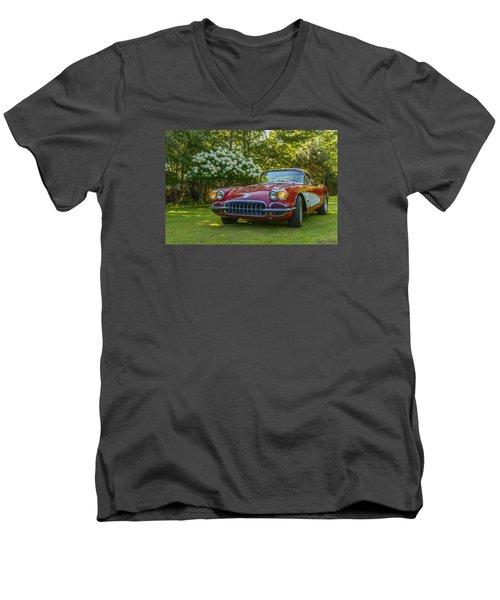 My 1960 Corvette Men's V-Neck T-Shirt by Ken Morris