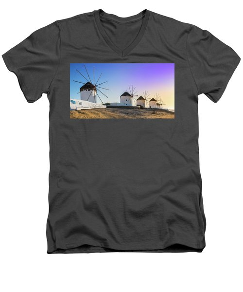 Mykonos, Greece Men's V-Neck T-Shirt