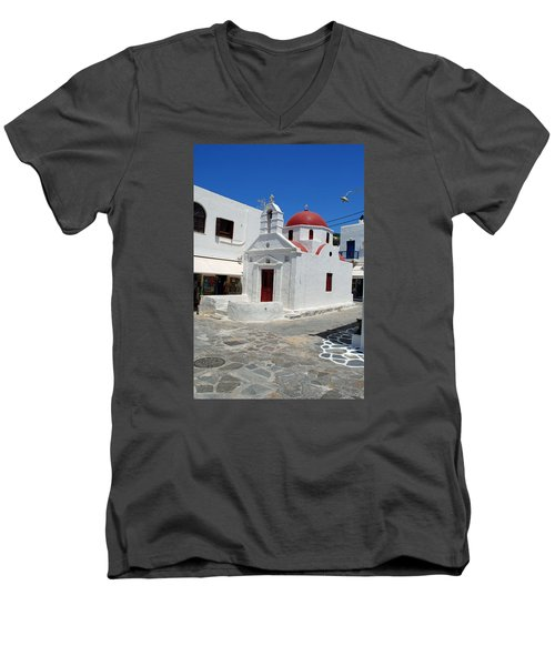 Mykonos Red Chapel Men's V-Neck T-Shirt