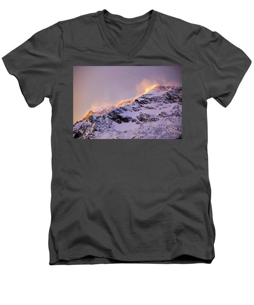 mystery mountains in North of Norway Men's V-Neck T-Shirt
