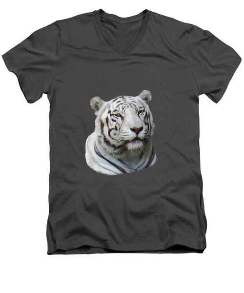 Namaste White Tiger Men's V-Neck T-Shirt