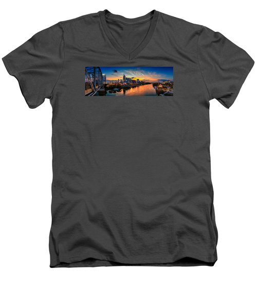 Nashville Skyline Panorama Men's V-Neck T-Shirt by Brett Engle