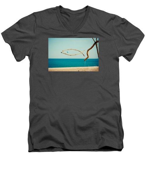 Nature Sculpture At Coast Seascape Artmif.lv Men's V-Neck T-Shirt