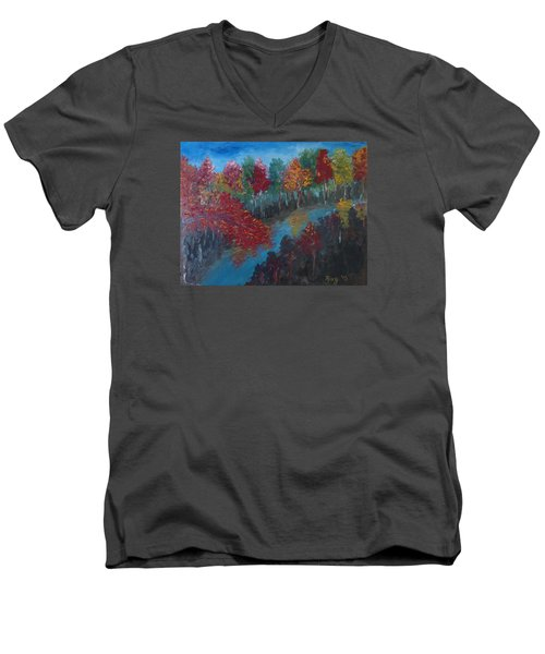 New Hampshire In Autumn Men's V-Neck T-Shirt by Roxy Rich