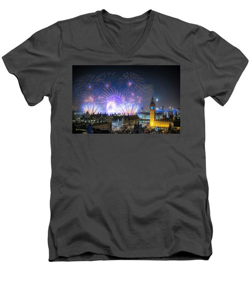 New Year Fireworks Men's V-Neck T-Shirt