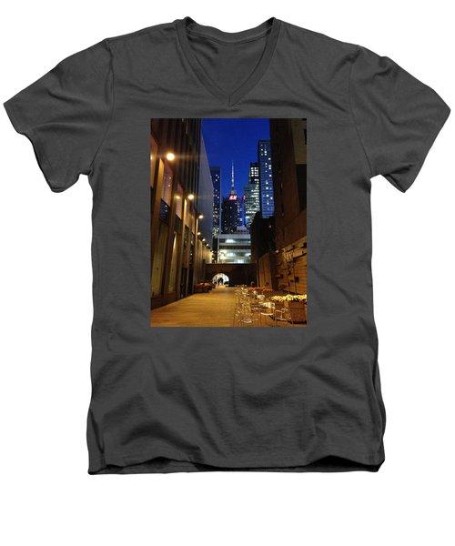 New York Night Men's V-Neck T-Shirt by Helen Haw